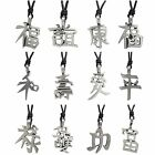 Pewter CHINESE FENG SHUI Pendant on Adjustable Black Cord Necklace Nickel Free