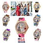Retro Women Watch Eiffel Tower Fashion Rhinestone Floral Leather Quartz Watches  image