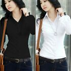 formal tops - US Fashion Women Long Sleeve Button Office Career Formal Slim Blouse Shirt Tops