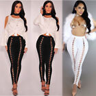 sexy women high waist lace up legging