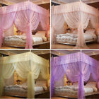 4 Corners Princess Mosquito Netting Poster Net Bed Curtain Canopy + Frame(Post) image