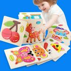 US Wooden Puzzle Jigsaw Cartoon Baby Kids Educational Learning Tool Set Toy DIY
