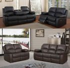 Vengeance‬‬ 3 + 2 Seater Sofa Cup Drink Holder Recliner Leather Black OR Brown