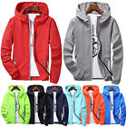 Men Jacket Hoodie Thin Sport Quick Dry Windbreaker Coat Zip Up Hooded Outwear Hu