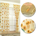 Curtains Sunflower rural transparent decoration Living room tulle Sheer blue