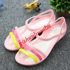 Women's Candy Color Sandals Shoes Slip On Strap Jelly Shoes Girl Sweet Flats New