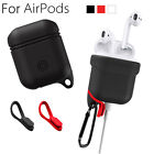 Shockproof Silicone Case Cover Skin w/Carabiner+Dustproof Plug for Apple AirPods