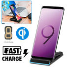Qi Wireless Fast Charger Charging Stand Dock for Samsung Galaxy S9 S8 iPhone X 8