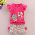 2PCS Baby Girl Clothes Summer Lolly Tee +Short Pants Kids Girls Casual Outfits