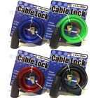3Ft x 10mm Bike Bicycle Security Anti-Theft Steel Cable Lock W/2 Keys 4 Colors
