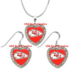 Kansas City Chiefs 925 Necklace / Earrings or Set Team Heart With Rhinestones $8.99 USD on eBay