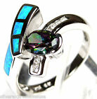 Rainbow Topaz & Blue Fire Opal Inlay Solid 925 Sterling Silver Ring size 6, 8.75