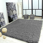 Large Medium Small SILVER GREY Thick Pile Soft Shaggy Rug Non Shed Carpet Rugs