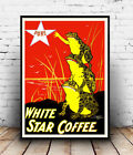 White star : Vintage coffee advert, poster, Wall art, poster, reproduction.
