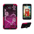 For LG L70 Optimus Exceed 2 LG Realm Armor Hybrid Case US Flag Hunt Camo