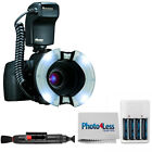 Nissin Macro Ring Flash MF 18 + 4 Batteries and Charger + Cleaning Accessories