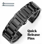 Black Stainless Steel Brushed Replacement Watch Band Strap Butterfly Clasp #5072 image