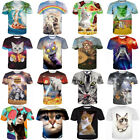 Womens/Mens Funny Cat Set Cute Animals 3D Print Casual T-Shirt Tee Short Sleeve