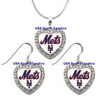 New York Mets 925 Necklace / Earrings or Set Team Heart With Rhinestones on Ebay