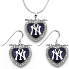 New York Yankees 925 Necklace / Earrings or Set Team Heart With Rhinestones. on Ebay
