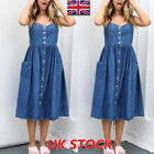 UK Womens Vintage Button Denim Dress Loose Casual Jeans Strappy Midi Dress