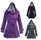 Ladies Womens Hooded Belted Trench Mac Fleece Jacket Coat Pkus & Big Sizes 4-22