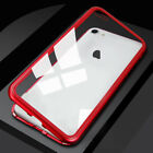 Luxury Magnetic Metal Frame Tempered Glass Back Cover Case For iPhone X 7 8 Plus