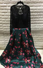 Women's Floor length Lace Open Back Bridesmaid Prom Formal Gown Black/Floral