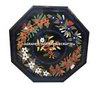 Black Marble Inlaid Birds Pietra Dura Rare Table Top Marquetry Handmade Art H448