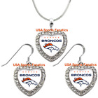 Denver Broncos 925 Necklace / Earrings or Set Team Heart With Rhinestones $8.99 USD on eBay