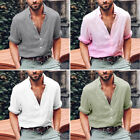 Men Rolled Sleeve V Neck Button Down Vintage Linen T Shirt Tops Tee Loose L-2XL