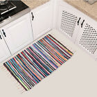 Large Size Handmade Mat Cotton Multicolor Braided Tassel Area Striped Floor Rugs