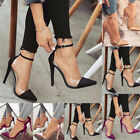 sexy high heels black - Sexy Women Stain&Perspex Point-Toe stiletto High Heels Shoes Ankle Strap Sandals