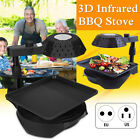 3D Infrared Electric Smokeless BBQ Grill Stove Barbecue Kebab Roaster Non-Stick