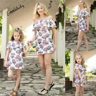 Family Dress Mother and Daughter Matching Womens Girls Floral Long Dresses