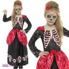 Girls Deluxe Day of the Dead Costume Mexican Kids Childs Halloween Fancy Dress