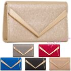 Shinny Faux Leather Wedding Ladies Party Prom Evening Clutch Hand Bag Purse
