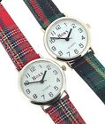 Ladies Childrens Red And Green Tartan Fabric Strap Wristwatch image