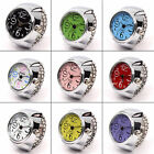 Creative Fashion Steel Tone Round Elastic Quartz Finger Ring Watch Girls Gifts