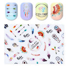 Dream Catcher 3D Stickers Flower Rainbow Cross Nail Art Water Decal Manicure DIY