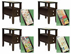 FC167 LABEL THEMED ESPRESSO CAPPUCCINO FINISH NIGHTSTAND GLASS END TABLE DRAWER