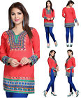 UK STK Orange Women Fashion Indian Short Kurti Tunic Kurta Top Shirt Dress 129A