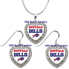 Buffalo Bills 925 Necklace / Earrings or Set Team Heart With Rhinestones $8.99 USD on eBay