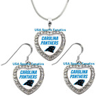 Carolina Panthers 925 Necklace or Earrings or Set Team Heart With Rhinestones on eBay