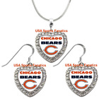 Chicago Bears 925 Necklace / Earrings or Set Team Heart With Rhinestones on eBay