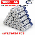 4-20X BTY AA /AAA Rechargeable Battery Recharge Batteries 1.2V 3000mAh Ni-MH US