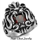 MEN'S STAINLESS STEEL 6 CT PRINCESS CUT DEEP RED CZ BIKER'S LION RING SIZE 10,11