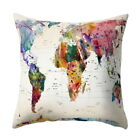 Casual Home World Map Printed Throw Pillow Case Sofa Waist Cushion Cover Decor