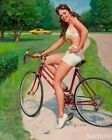 Vintage Pin Up Girls Cycling On Bicycle Retro Picture Poster Print Art A3 A4