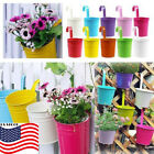 Metal Iron Flower Pot Vase Planter Wall Fence Hanging Balcony Garden Patio T99
